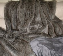 Timber Wolf Faux Fur Throws