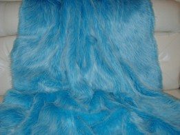 Sky Blue Faux Fur Throws and Bed Runners