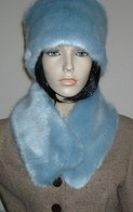 Powder Blue Faux Fur Hats, Scarves, and Accessories