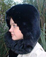 Black Mink Faux Fur Hats, Scarves, Accessories