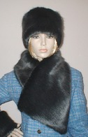Charcoal Mink Faux Fur Hats, Scarves, and Accessories