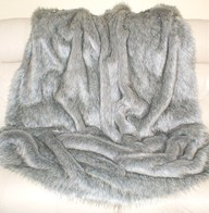 Silver Musquash Faux Fur Throws and Bed Runners