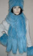 Sky Blue Faux Fur Hats, Scarves, and Accessories