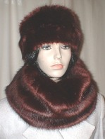 Burgundy Mink Faux Fur Hats, Scarves and Fashion Accessories