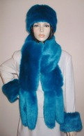 Azure Blue Faux Fur Hats, Scarves, Collars, Headbands & Accessories