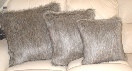 Timber Wolf Faux Fur Cushions