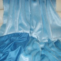 Powder Blue Faux Fur Throws and Bed Runners