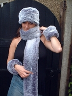 Silver Lavender Fox Faux Fur Hat, Scarf and accessories