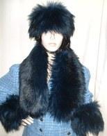 Midnight Blue Faux Fur Headbands, Collars, Cuffs, Accessories