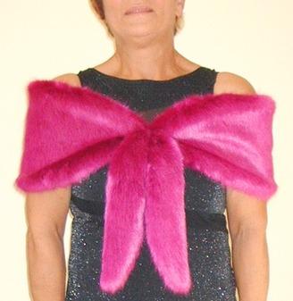 Hot Pink Mink Faux Fur Vintage Foxy Wrap