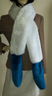 Azure Blue and Snow White Faux Fur Boa Scarf