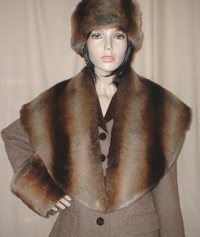 Golden Brown Chinchilla Faux Fur Shawl Collar