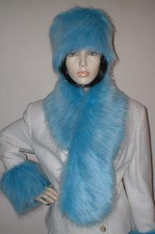 Sky Blue Faux Fur Pull Through Scarf