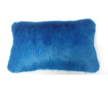 Azure Blue Faux Fur Oblong Cushion