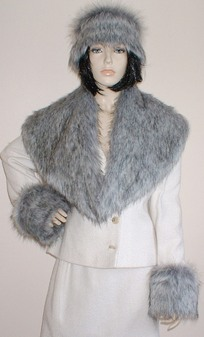 Silver Musquash Faux Fur Shawl Collar