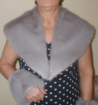 Silver Mink Faux Fur Shawl Collar