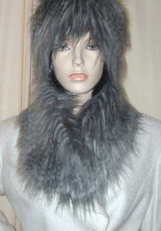 Siberian Wolf Faux Fur Long Collar