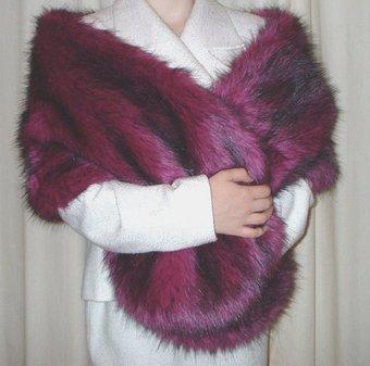 Magenta Faux Fur Long Stole