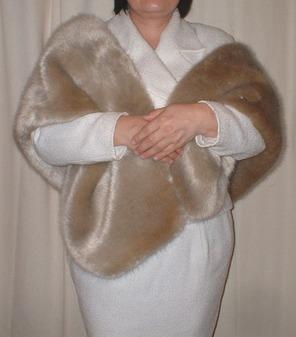 Honey Blonde Faux Fur Stole