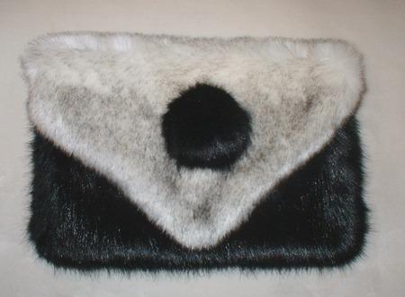 Polar Fox & Black Mink Faux Fur Clutch Bag