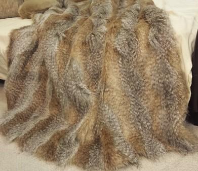 Desert Coyote Faux Fur Throw
