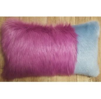 Powder Blue and Lilac Faux Fur Colour Block Cushion