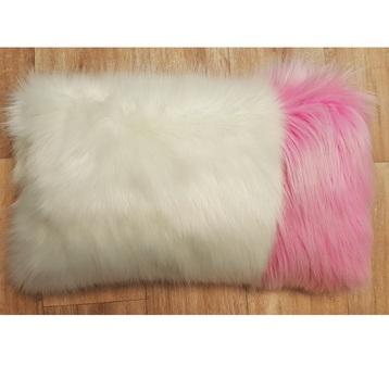 Polar Bear and Candy Faux Fur Colour Block Cushion