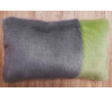 Silver Mink and Pistachio Faux Fur Colour Block Cushion