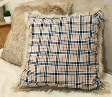 Beige Tartan and Fawn Musquash Faux Fur Cushions