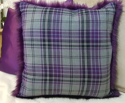 Silver Tartan and Royal Purple Faux Fur Cushion