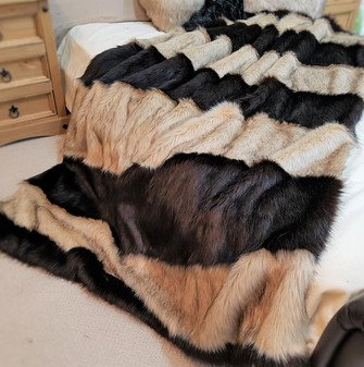 Multi Coloured Faux Fur Stripey Throws