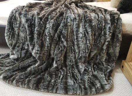 Vintage Silver Astra Faux Fur Throw