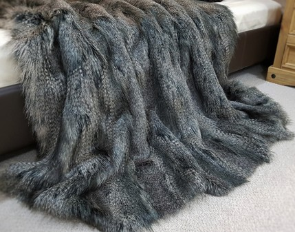 Grey Wolf Faux Fur Throw