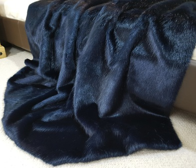 Midnight Navy Blue Faux Fur Throw