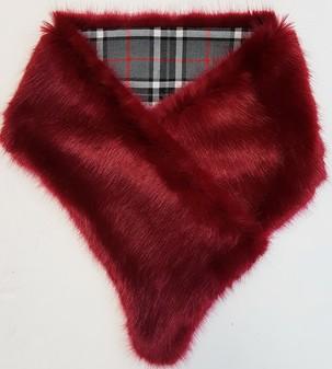Ruby Red and Tartan Asymmetric Scarf