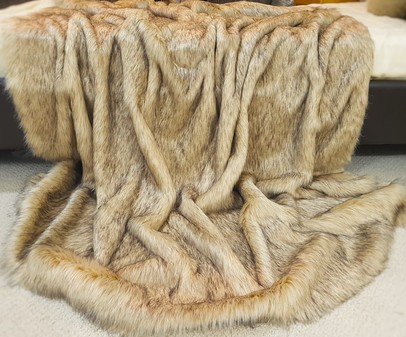 Fawn Musquash Faux Fur Throw