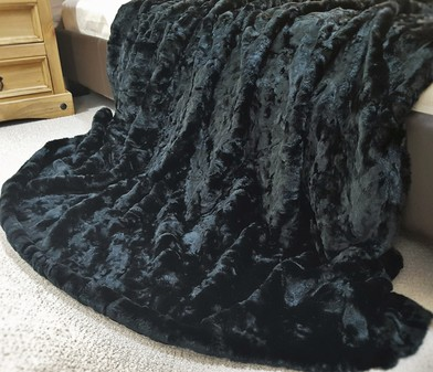 Black Astra Faux Fur Throw