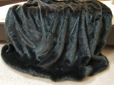 Charcoal Mink Faux Fur Throw