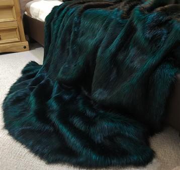 Emerald Black Faux Fur Throws