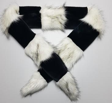 Black Moleskin and Alaska Faux Fur Cheshire Scarf