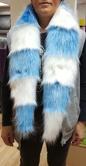 Sky Blue and Polar Bear Faux Fur Cheshire Scarf