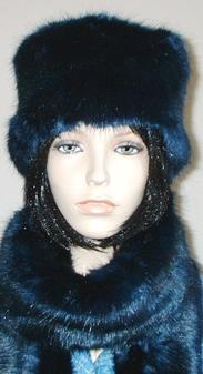 Midnight Navy Blue Faux Fur Hat