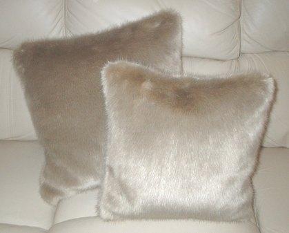 Honey Blonde Faux Fur Cushion 16 x 16 inch. 41 x 41 cm