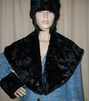 Black Astra Faux Fur Shawl Collar