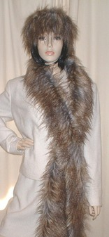 Tundra Wolf Faux Fur Super Long Scarf