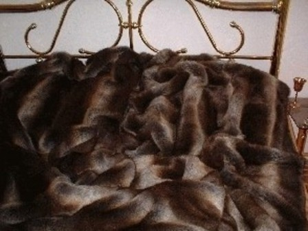 SALE Double Size Tissavel Italian Wolf Faux Fur Throw with Chocolate Satin
