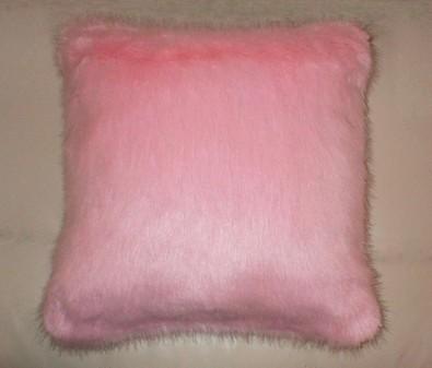 Raspberry Cream Mink Faux Fur Cushion 41x41cm (16 inches)