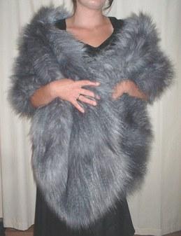 Siberian Wolf Faux Fur Long Stole