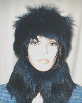 Midnight Blue Faux Fur Collar