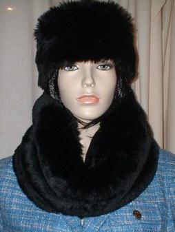 Black Mink Faux Fur Cowl/Neck Warmer